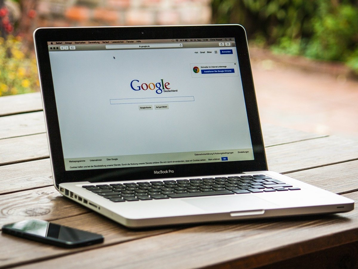 Laptop with Google browser